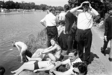 Families by the riverside  Bath  c 1966.
