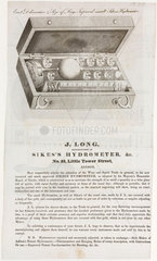Advertisement for Sikes's Hydrometer  19th century.