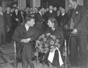Amy Johnson and her husband  James Mollison  British aviators  18 Dec 1932.
