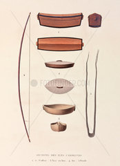A bow  a sling  and other items from the Caroline Islands  1822-1825.