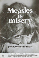 'Measles is Misery'  poster  c 1980s.