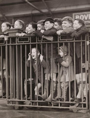 Evacuee children await arrival of their parents  Clacton  10 December 1939.