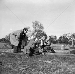 BTF film crew at Slaughter's Lock  Boxmoor  Hertfordshire  1950.