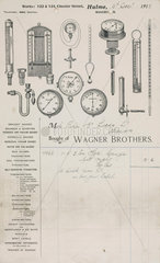 Receipt with letterheading  Wagner Brothers  Manchester  1913.