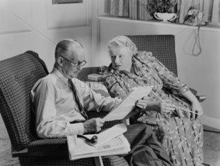 Elderly couple  c 1950.