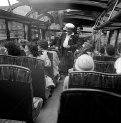 Passengers on a coach touring the sights of London  1950.