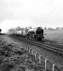 'Flying Scotsman' train  pulled by 'Osprey' at Ganwick Curve  c 1957.