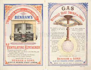 Gas cooking range and gas lights by Benham & Sons  late 19th century.