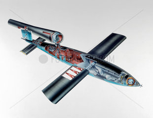 Cutaway view of the V-1 'Flying Bomb'  1944-1945.