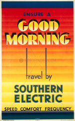 'Ensure a Good Morning - Travel by Southern Electric'  SR poster  1933.