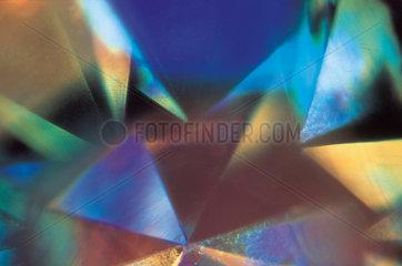 Reflections through a diamond ring  light micrograph  1990s.