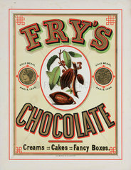 Advertisement for Fry's chocolate  c 1890.