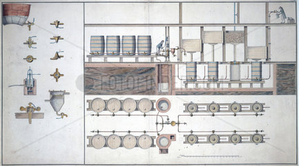 The production line in a brewery  late 18th century.
