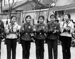 Chinese girls with rifles  April 1973.