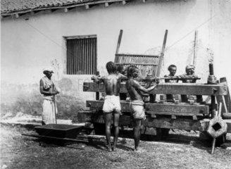 Pressing the fecula  Allahabad  India  1877.