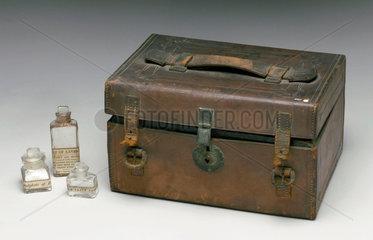 Leather medicine chest  1863-1901.