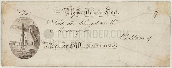 Printed receipt from Walker Colliery  Newcastle Upon Tyne  1747.