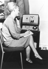 Woman talking over a videophone  26 April 1969.