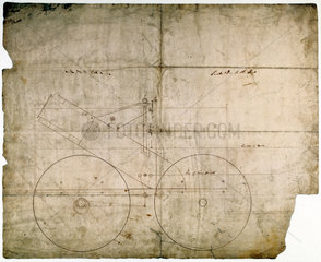 Drawing of part of a steam locomotive designed by Robert Stephenson  c 1830.