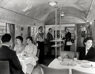Diners in a British Railways Western Region buffet car  c 1950s.
