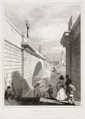 The new London Bridge from Southwark  c 1832.