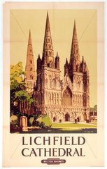 'Lichfield Cathedral'  BR poster  1948.
