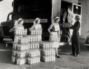 Red Cross Nurses loading dehydrated blood into a van  20 November 1942.