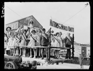 Young people on a float in a May Day parade  3 May 1935.