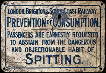 'Prevention of Consumption' railway sign  c 1920s.