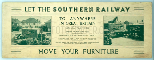 'Let the Southern Railway move your furniture'  1923-1947.
