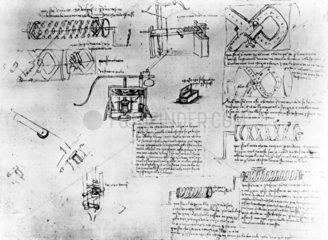 Design for screw-cutting lathe from Leonardo da Vinci's notebooks  c 1500.