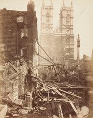 Construction of the Metropolitan District Railway  Westminster  London  c 1869.