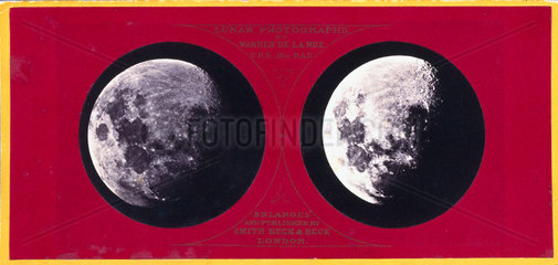 Stereoscopic photograph of the Moon  c 1855.