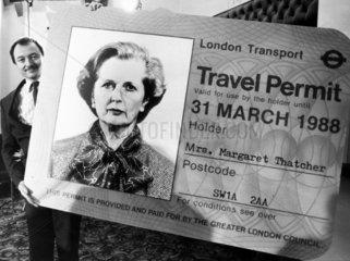 Ken Livingstone with Margaret Thatcher travel card  October 1985.