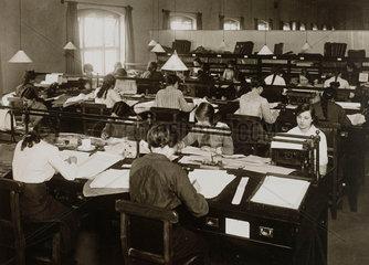 Women workers in a railway office  WWI  c 1916.