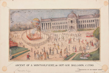 'Ascent of a Montgolfiere  or Hot-Air Balloon'  c 1790.