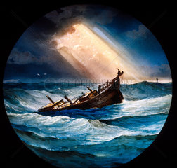 Boat in a stormy sea  mid 19th century.