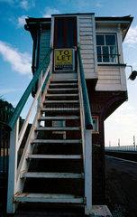 The disused signal box at Dawlish station