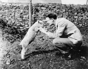 Arthur C Clarke with a lamb  c 1937. Arthur