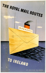 'The Royal Mail Routes to Ireland'  BR(LMR) poster  1952.