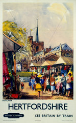 'Hitchin  Hertfordshire - See Britain by Train'  BR (ER) poster  c 1955-1965.