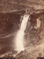 'The Grand Waterfall  Tivoli'  Italy  c 1850-1900.