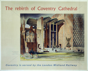 'The rebirth of Coventry Cathedral'  BR poster  1957.
