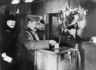 'Stalin casts his vote in first Soviet election'  17 December 1937.