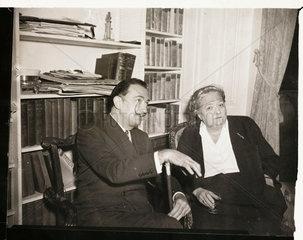 Salvador Dali at a press conference  London  26 April 1955.