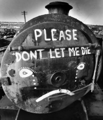 Steam locomotive scrapyard  Barry Docks  South Wales  January 1981.