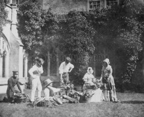 Group outside Lacock Abbey  Wiltshire  c 1840s.