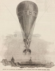 'Ascent of M Poitevin  on Horseback  in a Balloon'  1850.
