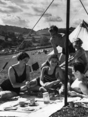Camping under canvas  1 August 1938.