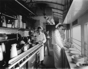Kitchen car on the Great Eastern Railway's Norfolk Coast Express  1910.